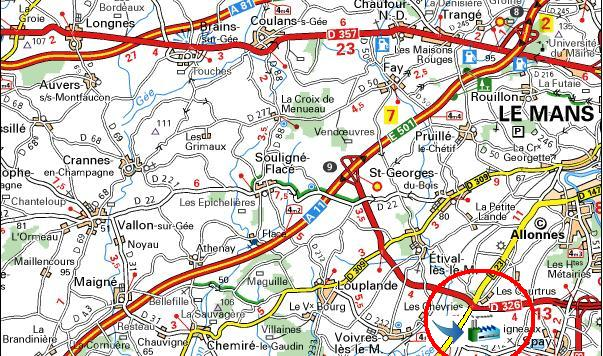 carte autoroute a11 sorties Situation